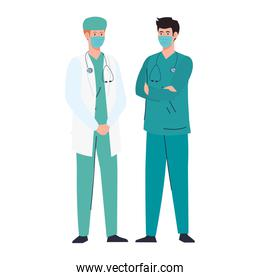 doctor with paramedic using face mask during covid 19 on white background