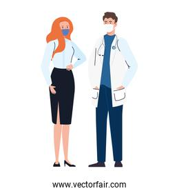 doctor with secretary worker using face mask during covid 19 on white background
