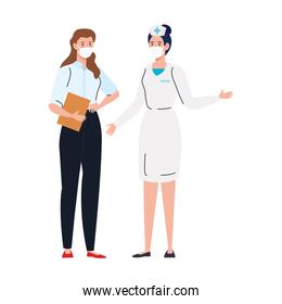 nurse with secretary worker using face mask during covid 19 on white background