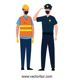 worker construction with policeman using face mask during covid 19 on white background