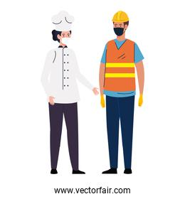 worker construction with chef female using face mask during covid 19 on white background