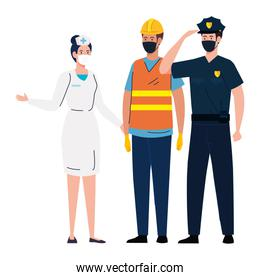 workers using face mask during covid 19 on white background