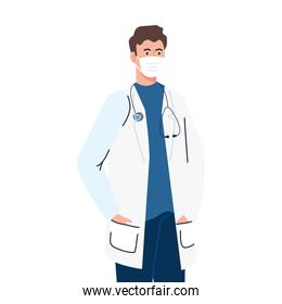 doctor using face mask during covid 19 on white background