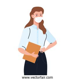 secretary worker using face mask during covid 19 on white background