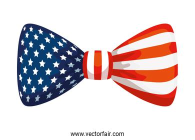 bow tie with usa flag, united states symbol on white background