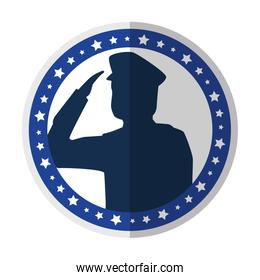 saluting army soldier silhouette icon on white background