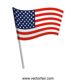 united state of america flag on white background