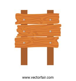 wooden sign post on white background