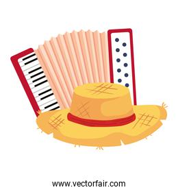 classical accordion with hat wicker on white background