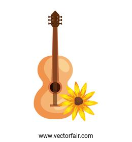 sunflower plant with classical wooden guitar on white background