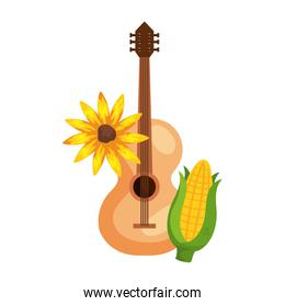 corn and sunflower with classical wooden guitar on white background