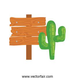 cactus plant with wooden sign post on white background
