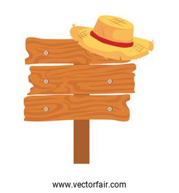 wooden sign post with hat wicker on white background