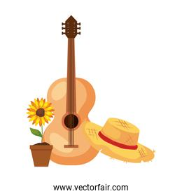 sunflower with hat wicker and classical wooden guitar on white background