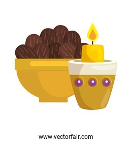 traditional arabic plate with dates fruit and candle , ramadan kareem concept