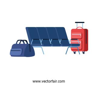 travel suitcase equipment with waitroom chairs