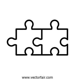 puzzle game pieces line style icon
