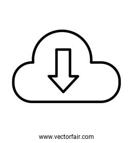cloud computing and arrow download line style icon