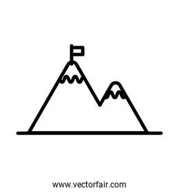 mountains with flag line style icon