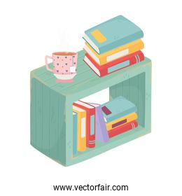 furniture with books and tea cup isolated icon design