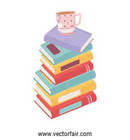 sweet home stack of books and tea cup decoration