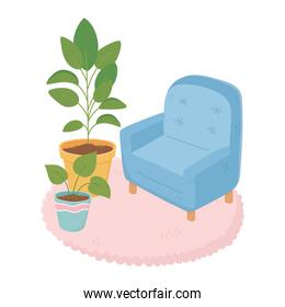 sweet home armchair with potted plant