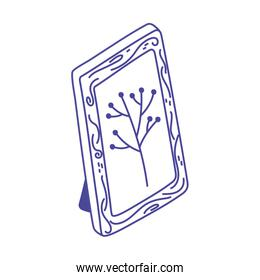 frame decoration picture foliage branch, line style icon
