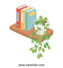 shelf with books and potted plant decoration isolated icon design