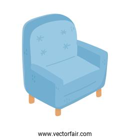 blue armchair furniture comfort isolated icon design