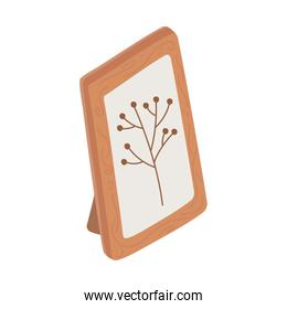 frame decoration picture foliage branch isolated icon design