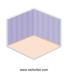 home room empty wall stripes floor isometric isolated icon design
