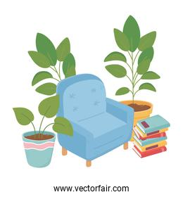 sweet home armchair books and potted plants decoration isolated design