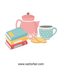 home stack of books kettle coffee cup sliced oranges