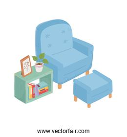 sweet home armchair footrest books frame potted plant