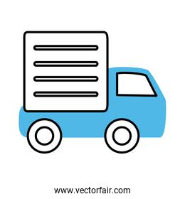 transport delivery truck mobile marketing and e-commerce line and fill style icon