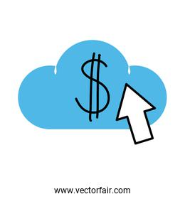 cloud computing money click mobile marketing and e-commerce line and fill style icon