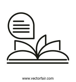 book reading online education and development elearning line style icon