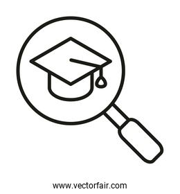 graduation hat magnifier online education and development elearning line style icon