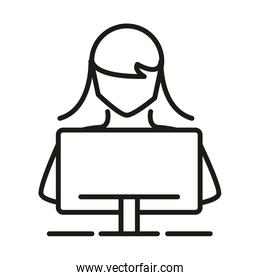 female student computer online education and development elearning line style icon