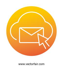 cloud computing email click online education and development elearning gradient style icon