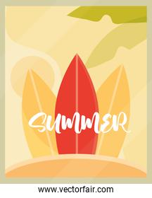 hello summer banner, surfboards palm season vacations travel concept