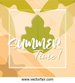 hello summer banner, leaf foliage exotic season vacations travel concept