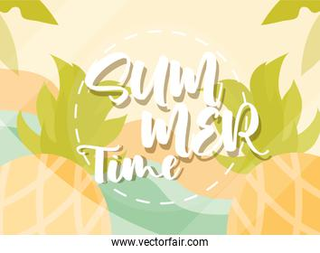 hello summer banner, beach pineapples exotic season vacations travel concept