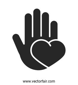 donation charity volunteer help social hand with heart love silhouette style icon