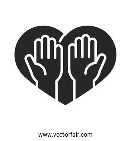 donation charity volunteer help social hands in heart silhouette style icon