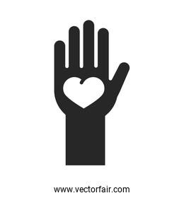 donation charity volunteer help social hand with heart in palm silhouette style icon