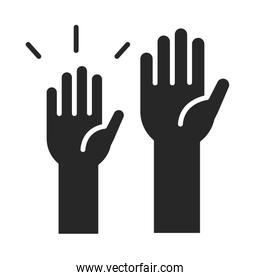 donation charity volunteer help social raised hands silhouette style icon