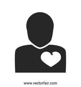 donation charity volunteer help social avatar heart in chest silhouette style icon