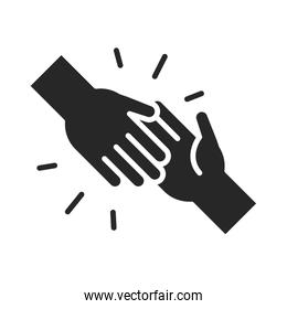 donation charity volunteer help social handshake assistance silhouette style icon