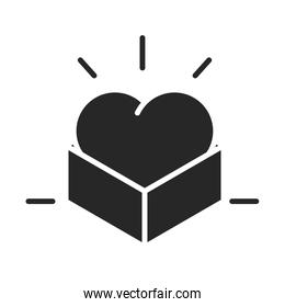 donation charity volunteer help social heart in cardboard box silhouette style icon